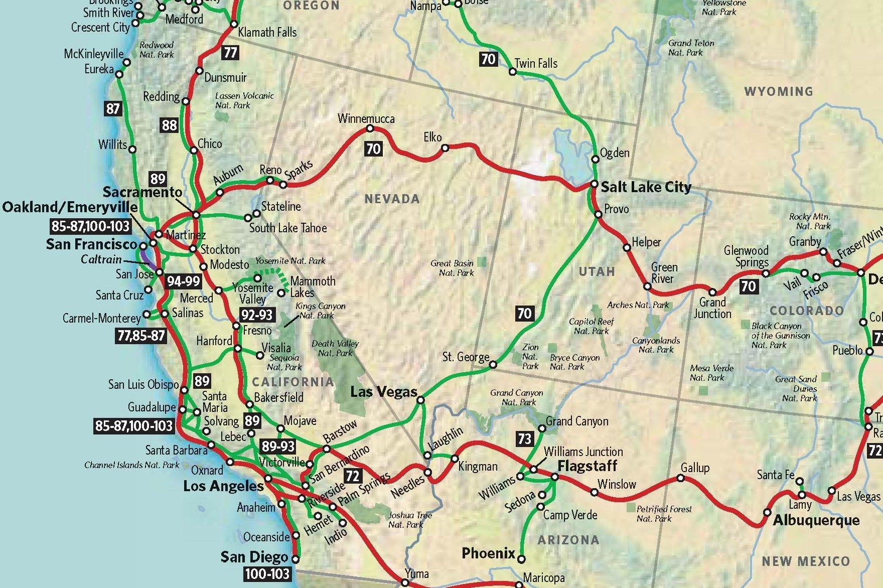 Southwestern US Physical Map Southwest United States Of America - Map of us west coast ports