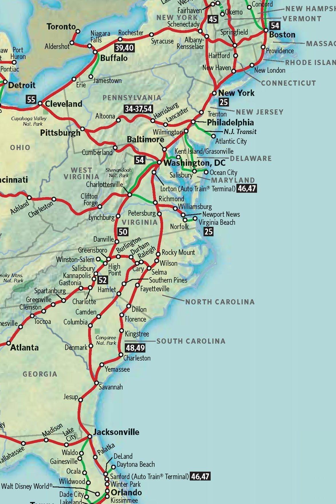 Map Of East Coast 187 Maps